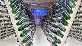 Bottles in the champagne cellars of Freyburg Royalty Free Stock Photography