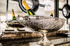 Bottles of Champagne in cooler. stock photo