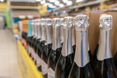 Bottles of champagne. Are on the shop window b royalty free stock photography