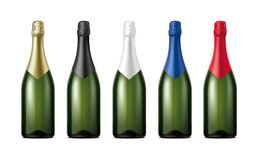 Bottles of Champagne. Version with Dark Green Glass. royalty free stock photos