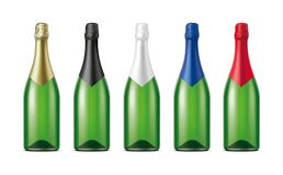 Bottles of Champagne. Version with Green Glass. stock photo