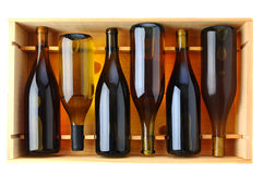 Bottles of Chardonnay Wine in Wood Case Royalty Free Stock Photos