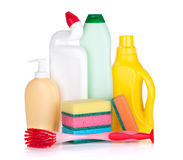Bottles of cleaning products, sponges and brush Stock Photography