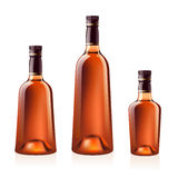 Bottles of cognac (brandy). Vector illustration. Royalty Free Stock Photo