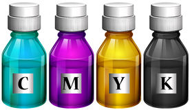 Bottles of colorful inks Royalty Free Stock Images