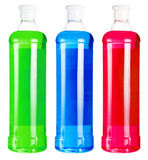 Bottles with colorful liquid soap Royalty Free Stock Photos