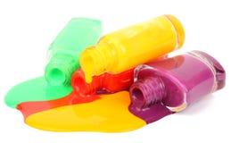 Bottles of colorful nail polish Stock Photo