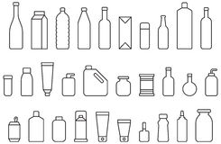Bottles and containers. Illustrations using line drawings of icons for bottles and containers including milk carton, baby's bottle, flask, wine bottle, beer can Stock Images
