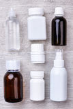 Bottles and containers for medicaments. Support your immune system Royalty Free Stock Images