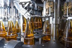 Bottling of drinks - bottling plant royalty free stock photo