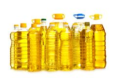 Bottles of cooking oil,. Isolated on white Stock Photos