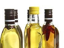Bottles of cooking oil, isolated royalty free stock photography