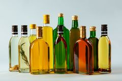Bottles of cooking oil royalty free stock photos