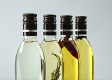 Bottles of cooking oil stock images