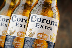 Bottles of Corona Extra beer. POZNAN, POLAND - APRIL 23, 2016: Corona Extra, one of the top-selling beers worldwide is a pale lager produced by Cerveceria Modelo royalty free stock photo