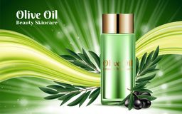 Bottles Cosmetic Golden Caps Luxury Moisturizing. Template Design Placard Banners Presentation Cover. Black Olive Branch stock illustration