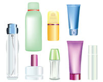 Bottles of cosmetic products Stock Images