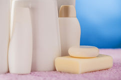 Bottles cosmetics and soap Royalty Free Stock Photo