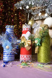 Bottles decorated in Christmas style. Christmas background with bottles decorated in Christmas style Royalty Free Stock Photo