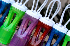 Colorful bottle. Bottles in different color, with same and repeated shape Stock Photo