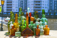 Bottles with different colors Stock Photos