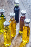 Bottles with different kinds of vegetable oil Stock Images