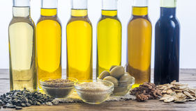Bottles with different kinds of vegetable oil Royalty Free Stock Image