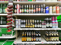 bottles of domestic and imported beers Stock Photography