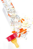 Bottles and doping. Feeding bottles and modern drugs royalty free stock photography