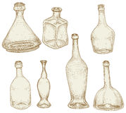 Bottles drawings Royalty Free Stock Images
