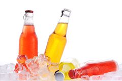 Bottles with  drink in ice Stock Photo