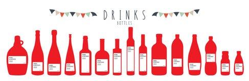 Bottles (Drinks). Vector illustration of a group of bottles Stock Photo