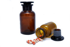 Bottles and drugs. From the old pharmacy Royalty Free Stock Image