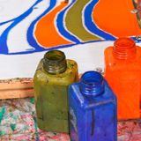 Bottles with dyes for cold batik Stock Image