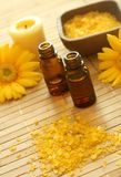 Bottles of essence oil, bath salt and  gerb Royalty Free Stock Photography
