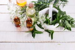 Bottles with essential aroma oil with mint Stock Photo