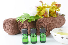Bottles of essential oils Stock Images