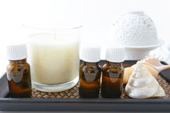 Bottles of essential oils Stock Photography