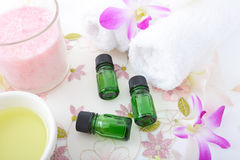 Bottles of essential oils Royalty Free Stock Photography