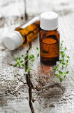 Bottles of essential thyme oil Stock Photos