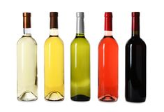 Bottles of expensive wines. On white background royalty free stock images