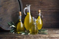 Olive oil bottles background stock image