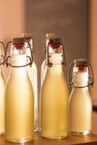 Bottles filled with elderflower syrup Stock Images