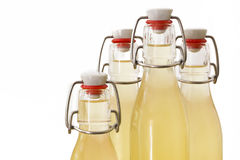 Bottles filled with elderflower syrup, large DOF Stock Photo