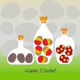 Bottles Filled With Decorated Eggs - Vector Stock Photography