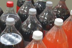 Bottles of fizzy drinks. soft drinks. beverages Royalty Free Stock Photos