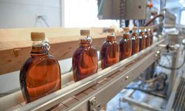 Bottles of fresh maple syrup on the production line at Ben`s Sugar Shack in Temple, N.H., USA, March 24, 2018. Maple syrup is made from pure maple sap. The stock photo