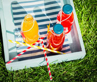 Bottles of fresh pure fruit juice with straws Stock Photo