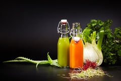 Bottles with fresh vegetable juices Stock Images