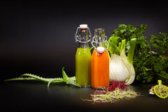 Bottles with fresh vegetable juices. Isolated on black. Detox diet royalty free stock photo